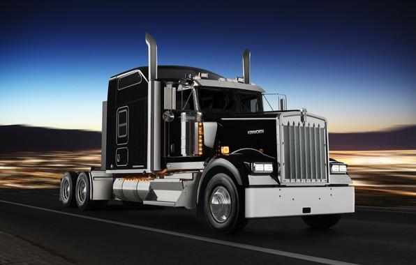Картинка дорога, движение, чёрный, грузовик, хром, тягач, Kenworth, спецверсия W900L, Icon 900