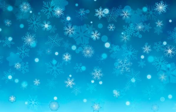 Фото обои зима, снежинки, снег