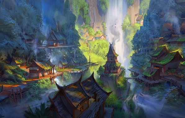 Картинка fantasy, forest, river, trees, landscape, water, rocks, houses, waterfall, digital art, waterfalls, artwork, Village, fantasy ...