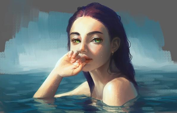 Картинка взгляд, вода, девушка, арт, зеленые глаза