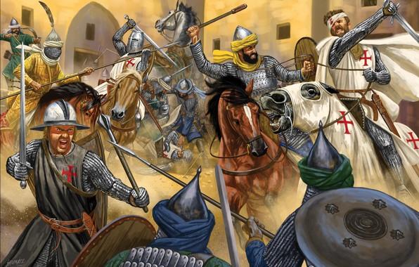 Картинка sword, blood, armor, cross, ken, blade, paladin, horse, knight, helmet, spear, sacred warrior, crusades, saracens, …