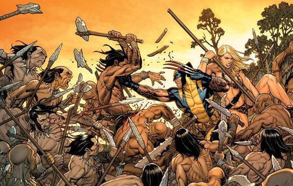Картинка Блондинка, Герои, Костюм, Драка, Оружие, Битва, Маска, Росомаха, Логан, Комикс, Heroes, Когти, Superheroes, Wolverine, Logan, …