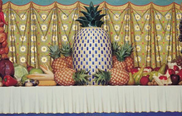 Картинка лимон, яблоки, кукуруза, лук, виноград, баклажан, тыква, натюрморт, груши, капуста, гранат, чеснок, грецкий орех, 1997, …