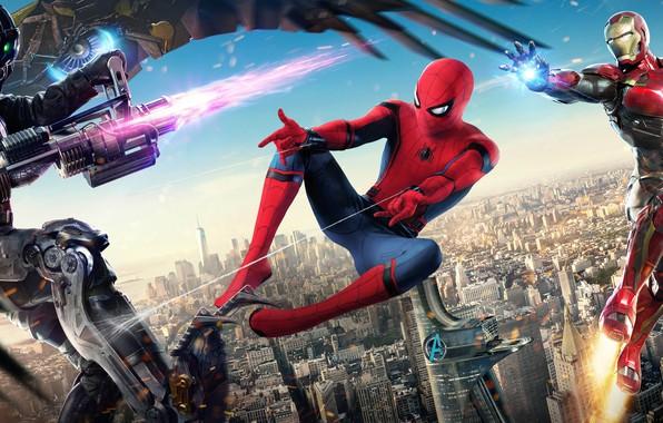 Картинка город, фантастика, высота, дома, Железный человек, схватка, постер, Iron Man, комикс, Robert Downey Jr., MARVEL, …
