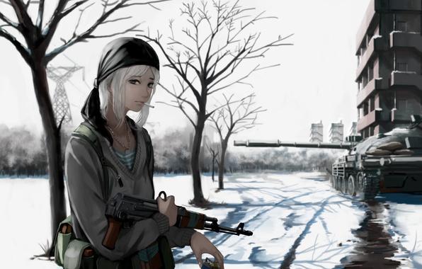 Фото обои girl, gun, weapon, war, anime, snow, blonde, rifle, tank, assault rifle, bishojo, AK 47