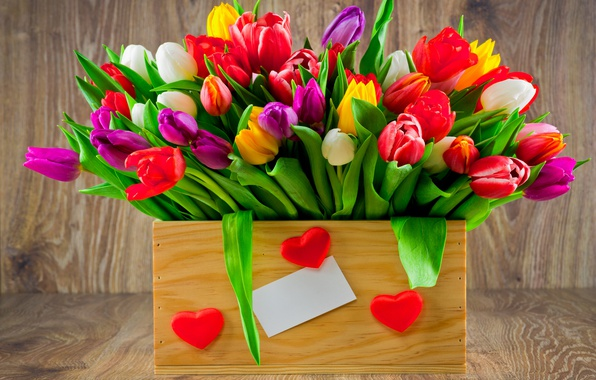 Картинка букет, colorful, тюльпаны, love, fresh, wood, flowers, romantic, hearts, tulips, gift