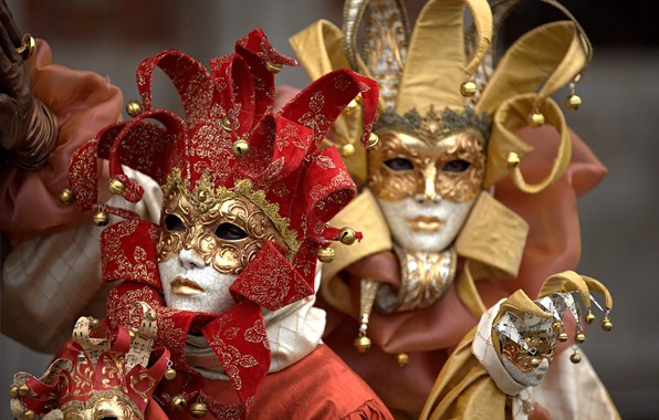 Картинка пара, Венеция, карнавал, маски, костюмы