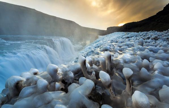 Картинка река, водопад, лёд
