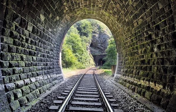 Картинка metal, wood, tunnel, stones, railway, Trees