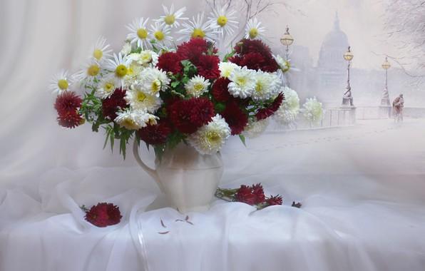 Картинка стиль, романтика, рисунок, ромашки, букет, хризантемы, тюль