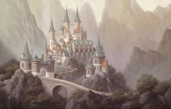 Картинка горы, замок, арт, дворец, yong-jin lee, Village in Valley