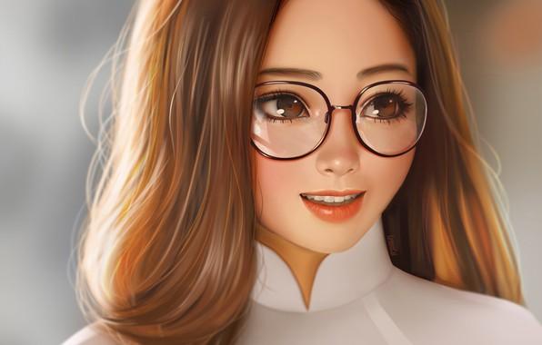 Картинка лицо, улыбка, очки, длинные волосы, art, портрет девушки, LemonCat