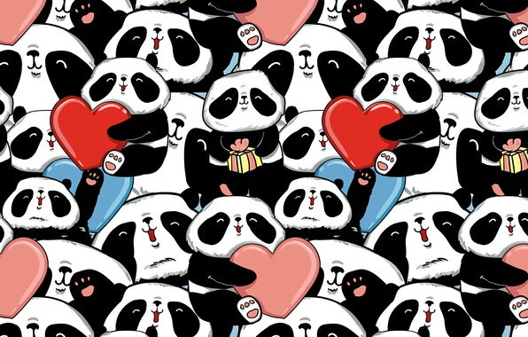Картинка сердечки, мишки, панды
