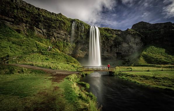 Картинка мост, река, скалы, водопад, Исландия, Iceland, Seljalandsfoss, Селйяландсфосс