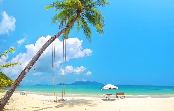 Картинка песок, море, пляж, солнце, пальмы, качели, берег, summer, beach, sea, island, sand, paradise, palms, tropical