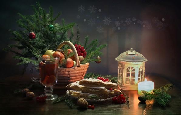 Картинка зима, счастье, чай, елка, новый год, рождество, свеча, натюрморт, мандарины, январь, лимонный пирог