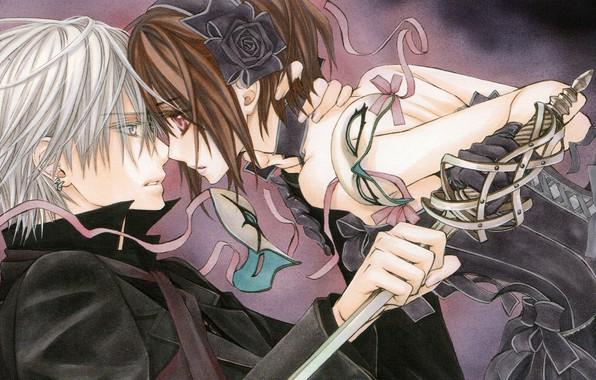 Картинка девушка, аниме, вампир, парень, рыцарь вампир, седзе, Vampire knight, Юки Куран