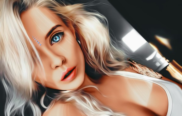 Картинка Girl, cleavage, art, blue eyes, tattoo, lips, face, painting, sensual, blonde, digital art, artwork, portrait, …