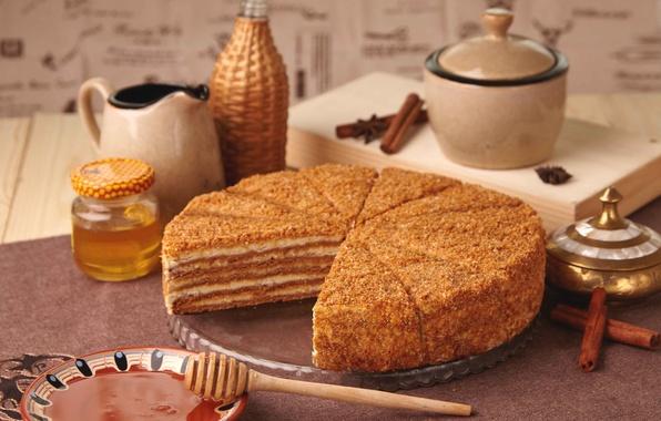 Картинка мед, торт, выпечка, медовик