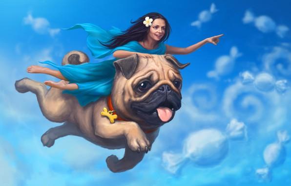 Картинка небо, девушка, облака, сон, собака, мопс, art