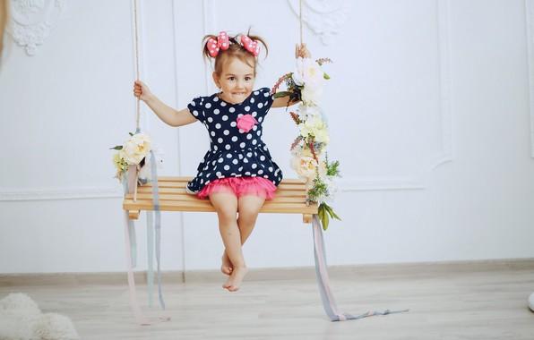 Картинка радость, качели, девочка, малышка