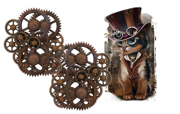 Картинка кот, механизм, минимализм, шляпа, арт, очки, стимпанк, детская, Steampunk