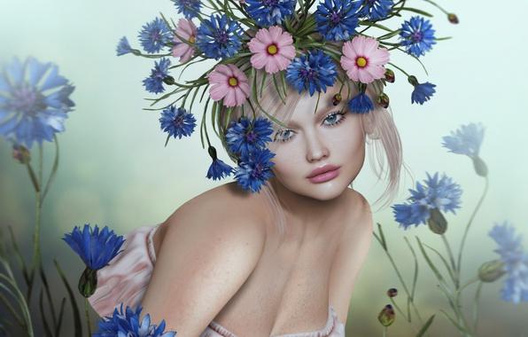Картинка девушка, цветы, блондинка, венок