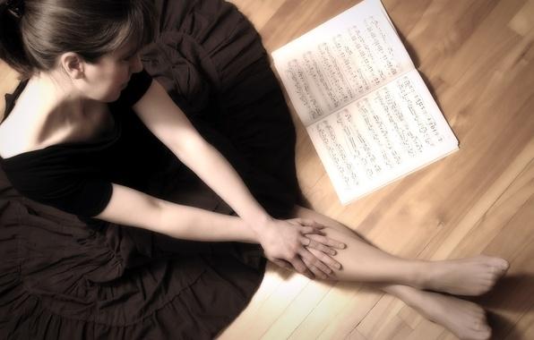 Картинка девушка, ноты, музыка