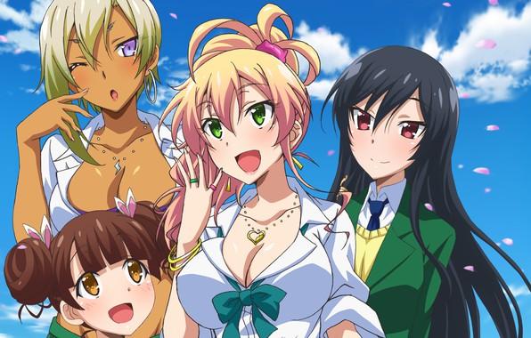 Картинка anime, pretty, blonde, friends, japanese, oppai, bishojo, seifuku, Hajimete no Gal, Gyaru, Yukana Yame, My …
