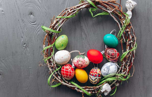 Картинка ветки, яйца, весна, colorful, Пасха, венок, wood, spring, Easter, eggs, decoration, Happy