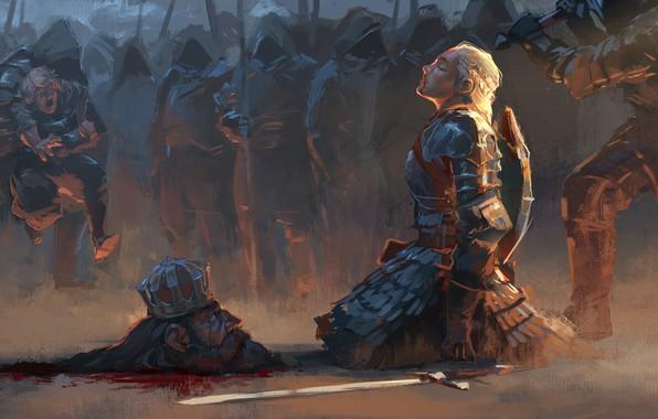 Картинка girl, sword, blood, fantasy, soldiers, armor, weapon, Warrior, crown, painting, blonde, assassin, artwork, fantasy art, …