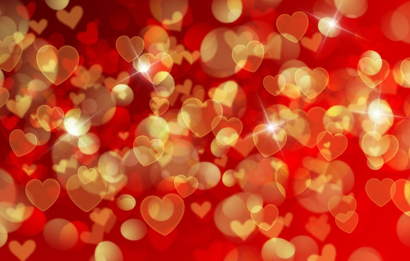 Картинка сердечки, red, love, background, romantic, hearts, bokeh, Valentine's Day