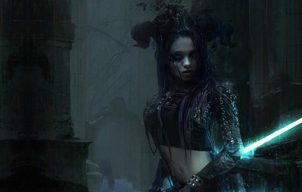 Картинка девушка, ночь, оружие, дождь, меч, воин, фэнтези, арт, Sense, Mark Kolobaev