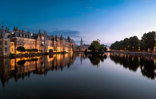 Картинка деревья, озеро, пруд, отражение, здания, Нидерланды, Netherlands, Гаага, The Hague, Binnenhof, Бинненхоф, Озеро Хофвайвер, Hofvijver