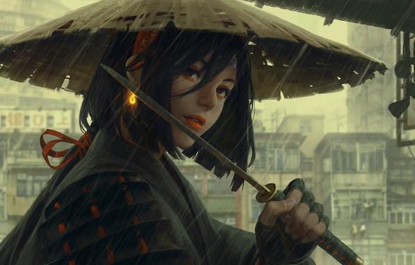 Картинка дождь, шляпа, доспехи, Japan, art, рукоятка, вакидзаси, Guweiz, женщина-воин, серый город