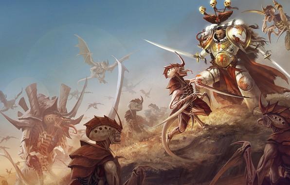 Картинка space marines, battle, Warhammer 40 000, tyranids, White Scars, xenos