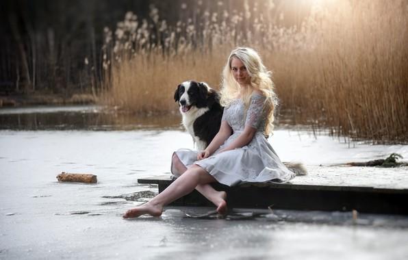 Картинка девушка, река, собака