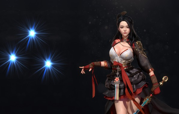 Картинка девушка, оружие, воин, фэнтези, арт, дизайн костюма, Hanbok, kong R