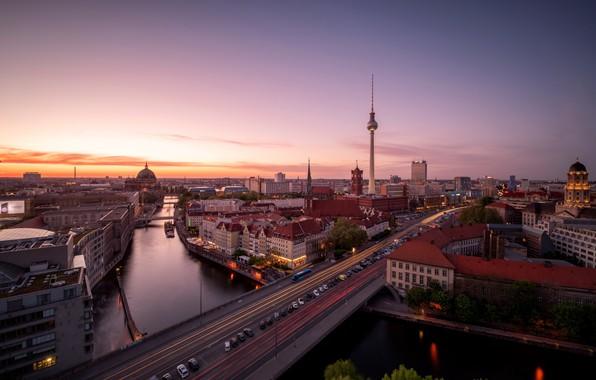 Картинка город, Sunset, Berlin