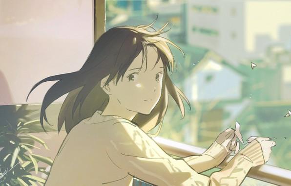 Картинка девушка, дома, окно, loundraw