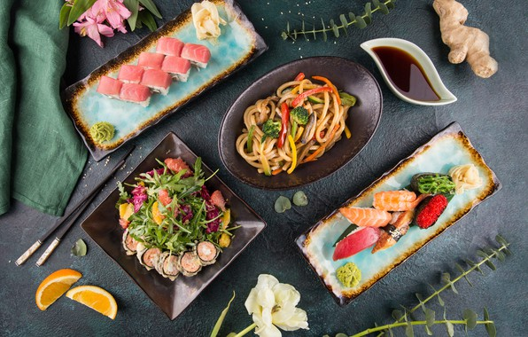 Картинка цветок, Апельсин, суши, салат, роллы, имбирь, соевый соус, Лапша