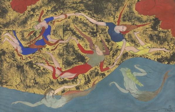 Картинка акварель, 1918, Tsuguharu Foujita, Ангелы и сирены, перо и черные чернила на золотистой бумаге