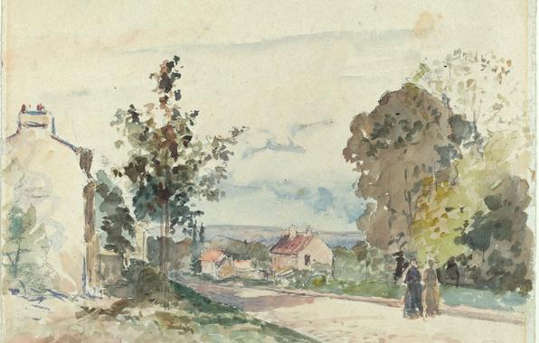 Картинка пейзаж, рисунок, акварель, Камиль Писсарро, Дорога из Версаля в Лувесьен
