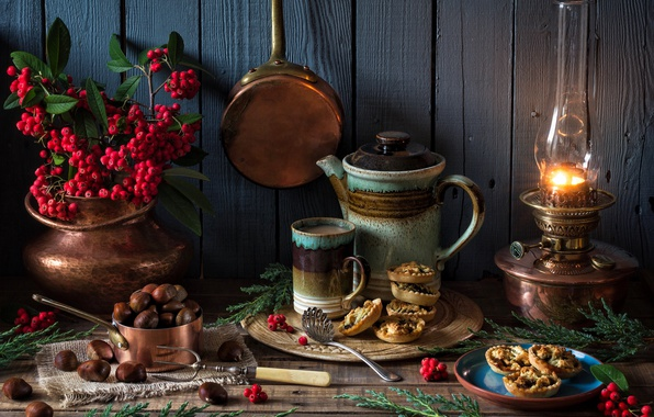 Картинка стиль, ягоды, лампа, чайник, Рождество, кружка, пирожное, каштаны