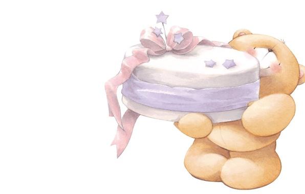 Картинка настроение, праздник, арт, мишка, тортик, детская, Teddy Bears