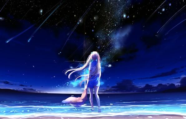 Картинка море, небо, ночь, школьница, падающие звезды, by lluluchwan