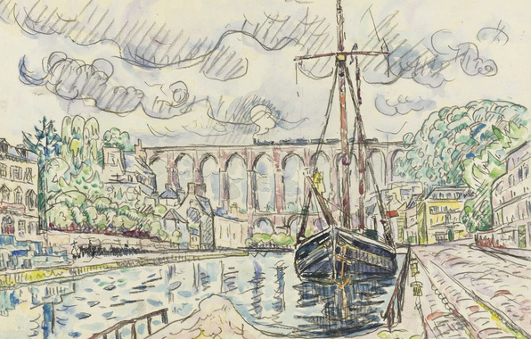 Картинка город, рисунок, корабль, порт, акварель, Поль Синьяк, Морле