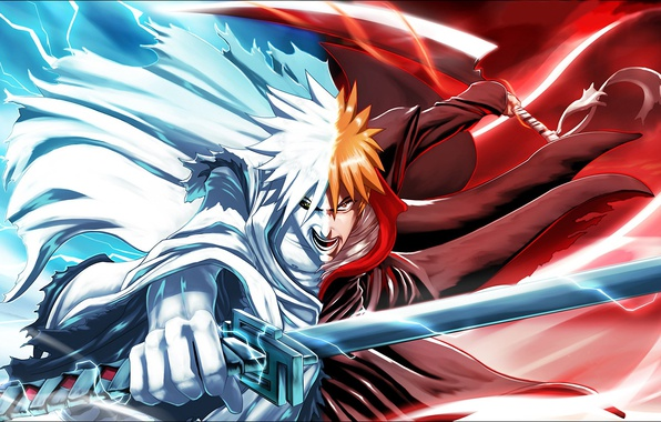 Картинка sword, Bleach, anime, man, boy, ken, blade, hero, asian, Kurosaki Ichigo, manga, japanese, oriental, asiatic, …