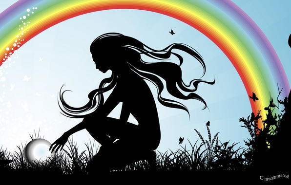 Картинка девушка, радуга, силуэт