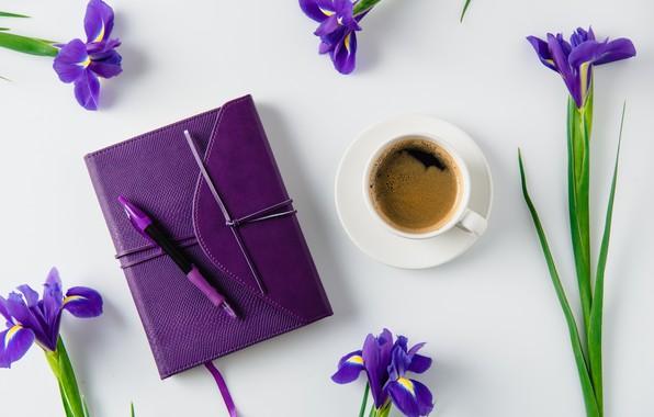 Картинка цветы, праздник, подарок, кофе, ирисы, flowers, gift, holiday, coffee, irises